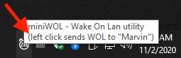 miniWOL Windows - Server targeted for Left Click