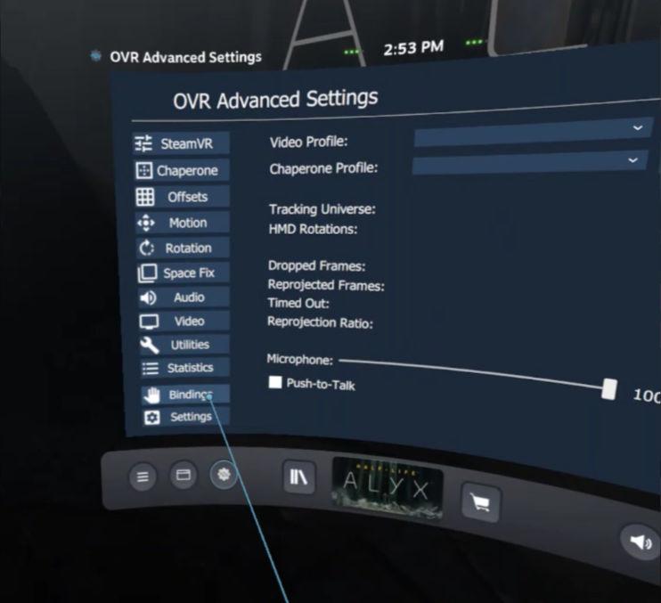 OpenVR Advancedsetting - Bindings needed for Screenshots