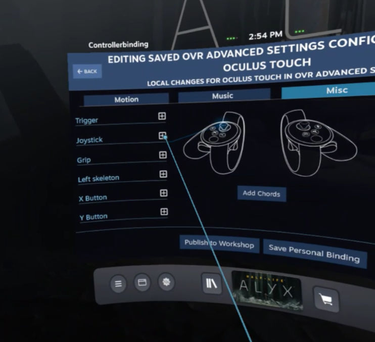 OpenVR Advancedsetting - Left Joystick
