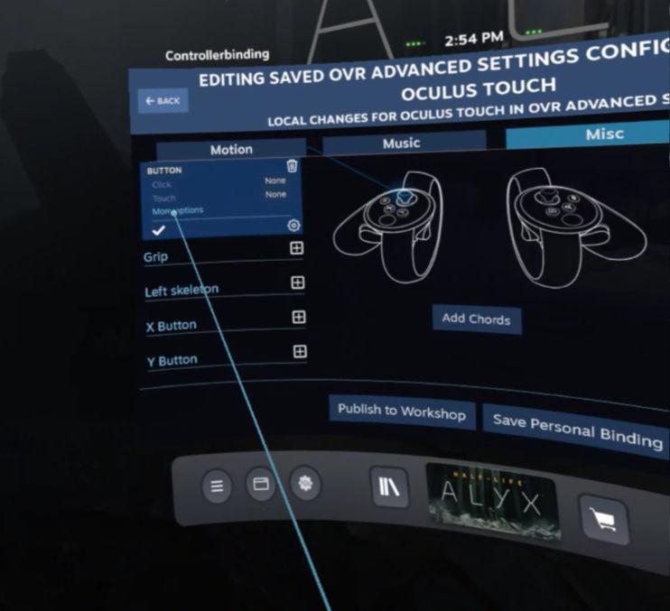 OpenVR AdvancedSetting - Left Joystick Button - More Options