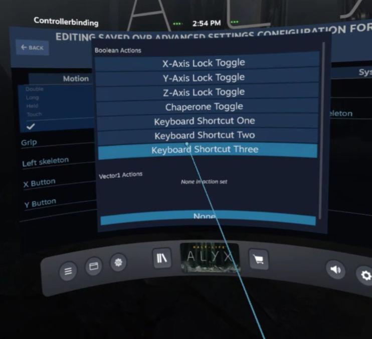 OpenVR AdvancedSetting - Keyboard Shortcut Three is our Screenshot key