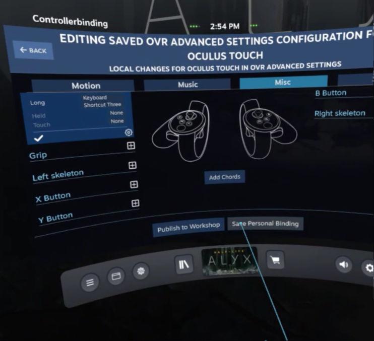 OpenVR AdvancedSetting - Save Settings