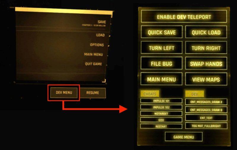 Half-Life: Alyx - DEV menu