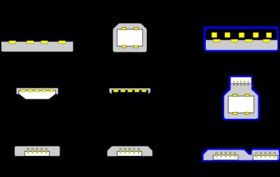 USB 2.x and 3.x connectors