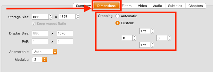 "Under the tab ""Dimensions"" you will find ""Cropping"""