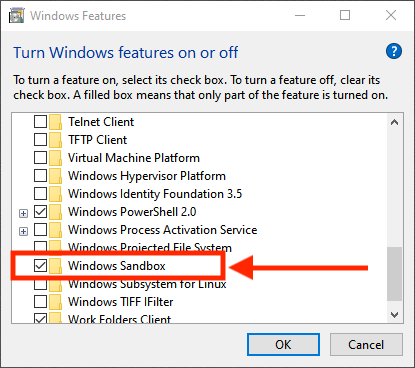 Install the Windows 10 Sandbox feature