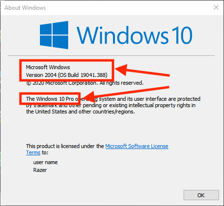Windows 10 - WinVer info