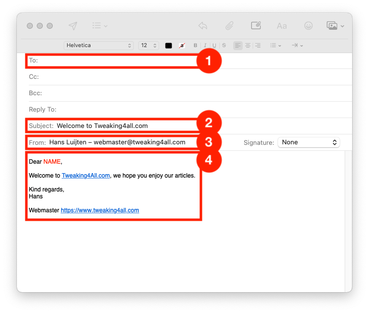Create a new email in Apple Mail
