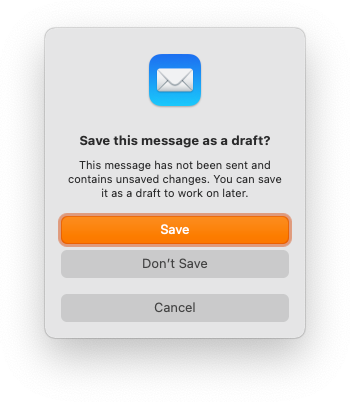 Save the new email as draft