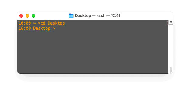 Z-Shell example - Current time and directory (home dir as tilde)