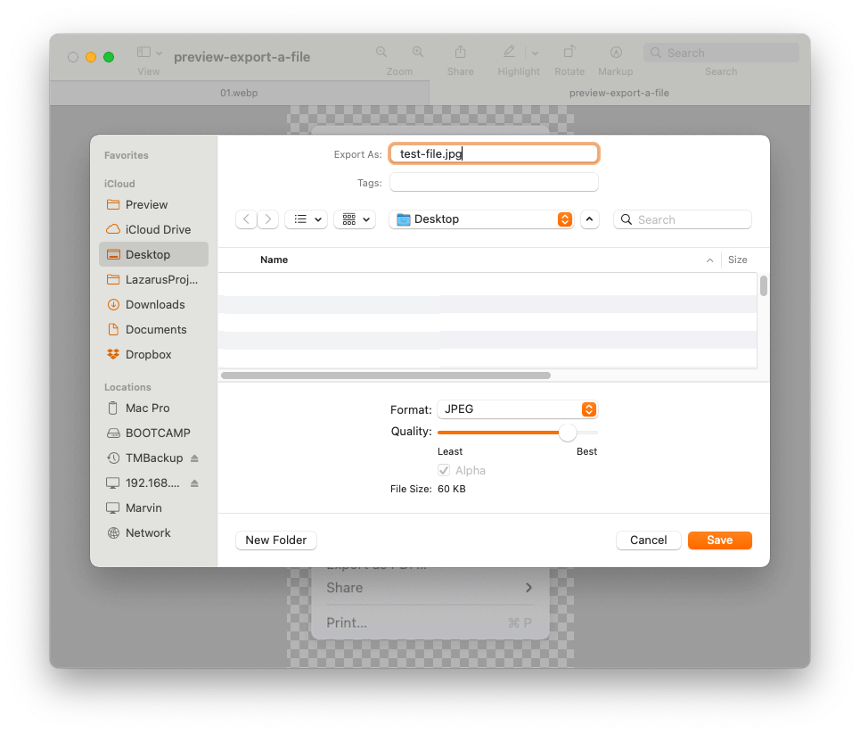 Preview - Export File Dialog