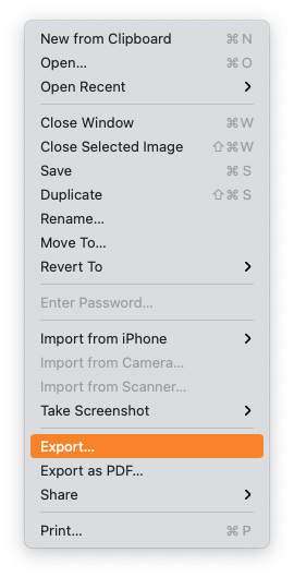 Preview - Export File as ...